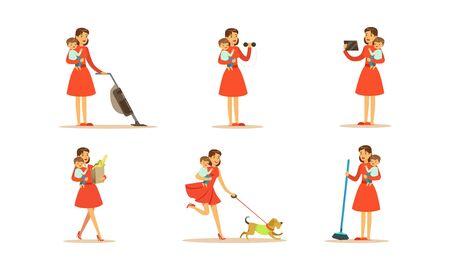 Ama de casa en diferentes trabajos domésticos conjunto de ilustraciones vectoriales. Mujer joven aspirando, haciendo ejercicio y haciendo compras