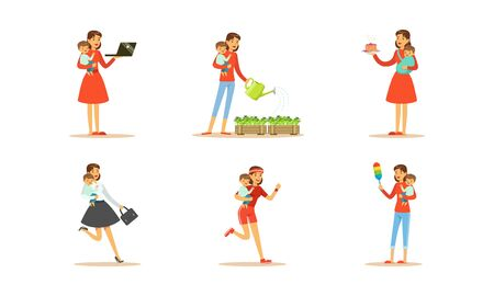 Housewife Engaging in Different Domestic Works Vector Illustrations Set