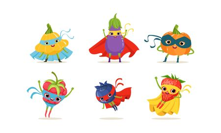 Vegetable and Berry Superheros Rushing to the Rescue Vector Set
