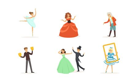 Performer Characters Playing Entertainment Performance on Theater Stage Vector Illustrations Set Illustration