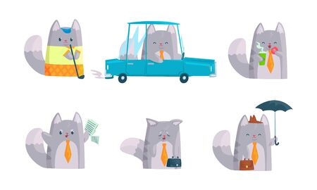 Cute Cat Character Doing Business at Work Vector Set Vectores