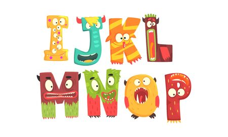 Monster Alphabetical Letters From I to P Vector Set. Childish Cartoon Alphabet for Easy Learning