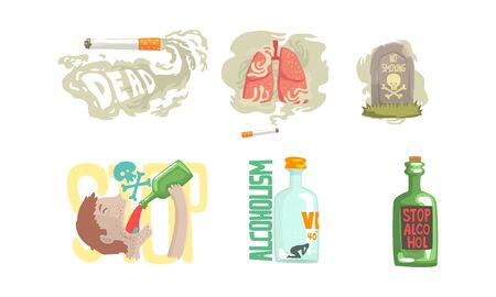 Dangers of Smoking Cigarette and Drinking Alcohol Illustrated Vector Set