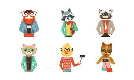 People with Animal Heads Vector Set. Mammal Characters Wearing Trendy Clothes 일러스트