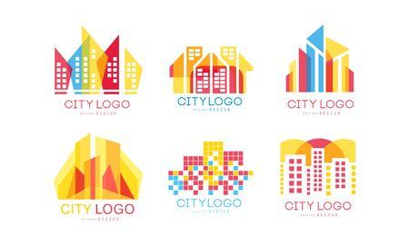 City Design Vector Set. Real Estate Emblem Concept Vettoriali