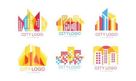 City Design Vector Set. Real Estate Emblem Concept Векторная Иллюстрация