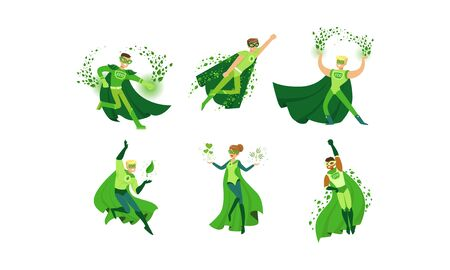 Young People in Green Eco Superheroes Costumes Vector Illustrations Set Illustration
