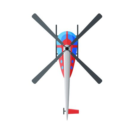 Flying Helicopter, View from Above, Air Transport Vector Illustration on White Background.  イラスト・ベクター素材