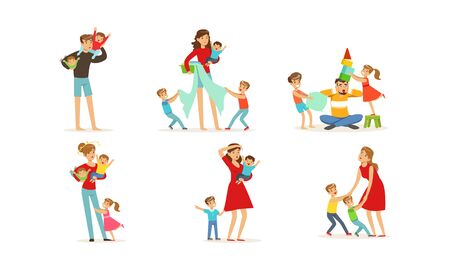 Tired Young Parents Exhausted with Nursing Little Kids Vector Illustrations Set