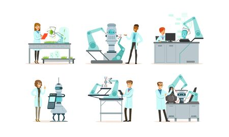 Scientists Working in Laboratory with Robots Vector Illustrations Set