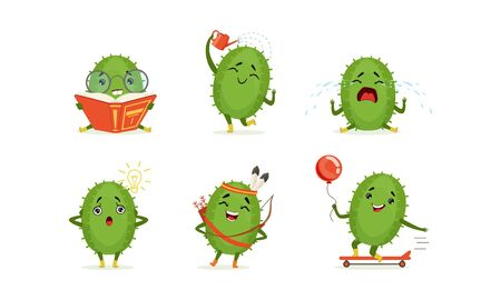 Cartoon Cactus Character Isolated on White Background Vector Set 일러스트