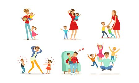 Tired Young Parents Exhausted with Nursing Little Kids Vector Illustrations Set. Kids Wanting to Play