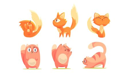 Cute Red and Ginger Cartoon Cat Character Expressing Different Emotions Vector Set