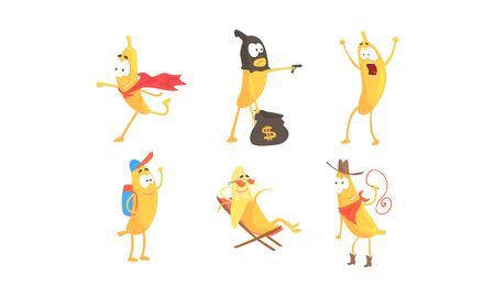 Cartoon Banana Character Doing Various Things Vector Set Banque d'images - 136396059
