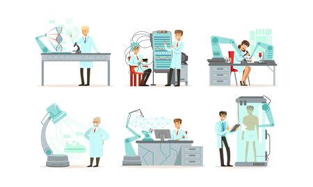 Scientists Working in Laboratory with Robots Vector Illustrations Set. Artificial Intelligence Concept Illustration