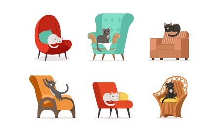 Domestic Cats Resting on Soft Armchairs Vector Set 向量圖像