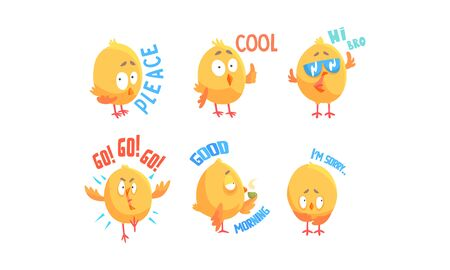 Funny Chicken Character with Phrases Vector Set