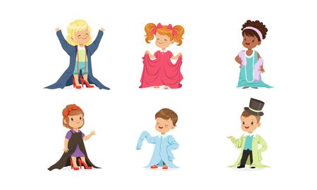 Kids Playing Adult Wearing Parents Clothing Items Vector Set