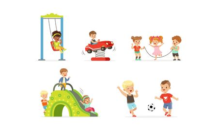 Little Children Playing at Playground Vector Illustrations Set. Careless Childhood Concept Stock Vector - 136197706