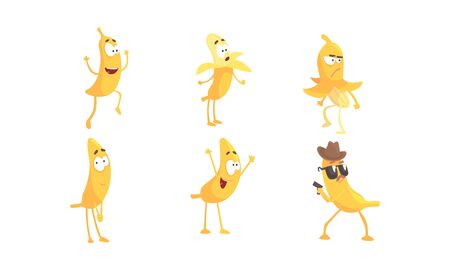 Cartoon Banana Character Doing Various Things Vector Set. Funny Fruit Holding Pistol and Expressing Surprise