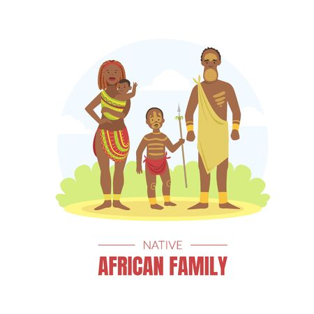 African Family Banner Template, Young Man, Woman and Kids in Traditional National Clothes Vector illustration Foto de archivo - 137180950