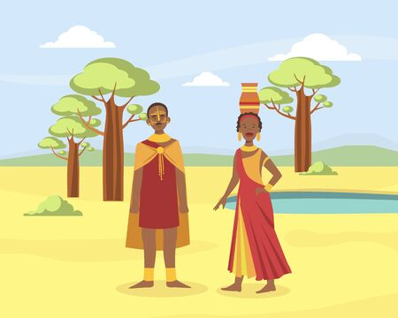 African Family Couple, Young Man and Woman in Traditional National Clothes on African Savannah Landscape Background Vector illustration