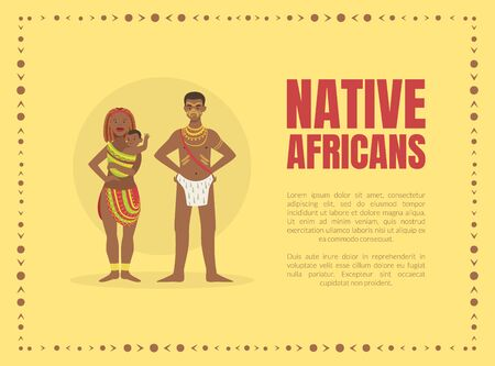 Native Africans Banner Template with Tribal People in Traditional Clothes and Space for Text Vector illustration