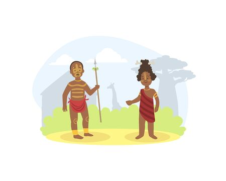 African Family Couple, Young Man and Woman in Traditional National Clothes Vector illustration