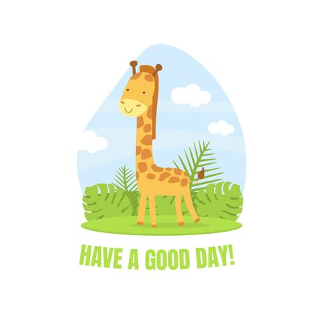 Have a Good Day Banner Template with Cute Giraffe Animal Vector illustration in Cartoon Style.