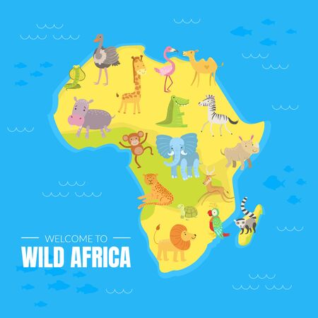 Welcome to Wild Africa Banner Template with Map of African Continent, Exotic Animals and Birds Vector illustration, Web Design.