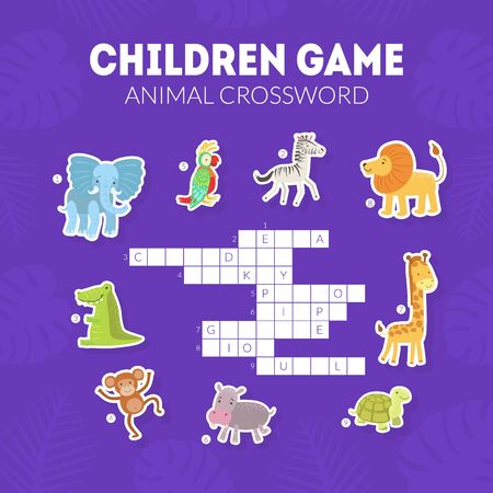 Animal Crossword, Childrens Educational Game with Exotic African Animals Vector illustration, Web Design. Ilustracja
