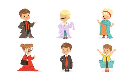 Kids Playing Adult Wearing Parents Clothing Items Vector Set Illustration