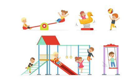 Little Children Playing at Playground Vector Illustrations Set. Careless Childhood Concept