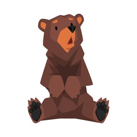 Cute Sitting Brown Grizzly Bear, Wild Animal Character Cartoon Vector illustration Stock fotó - 137073976