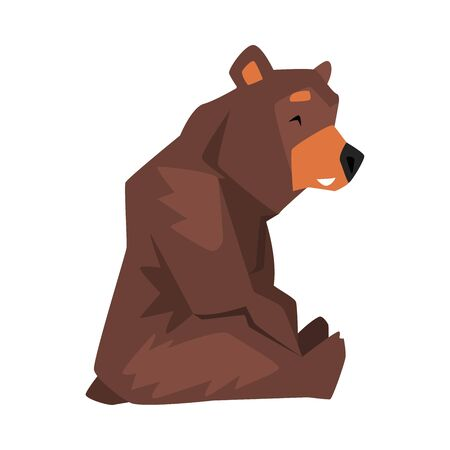 Sitting Brown Grizzly Bear, Wild Animal Character, Side View Cartoon Vector illustration