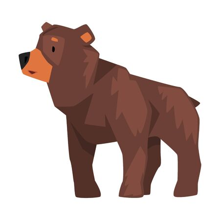 Cute Brown Grizzly Bear, Wild Animal Character, Side View Cartoon Vector illustration