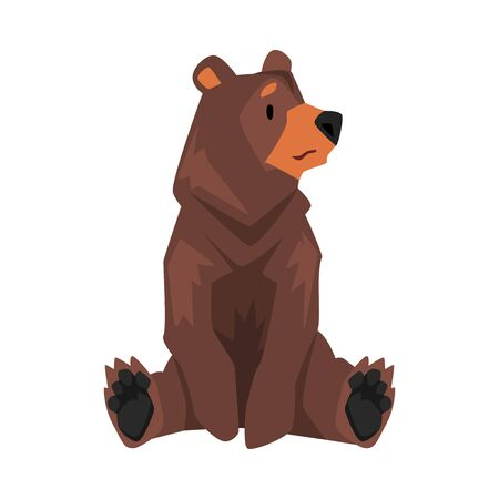 Sitting Brown Grizzly Bear, Wild Animal Character Cartoon Vector illustration Stock fotó - 137073834