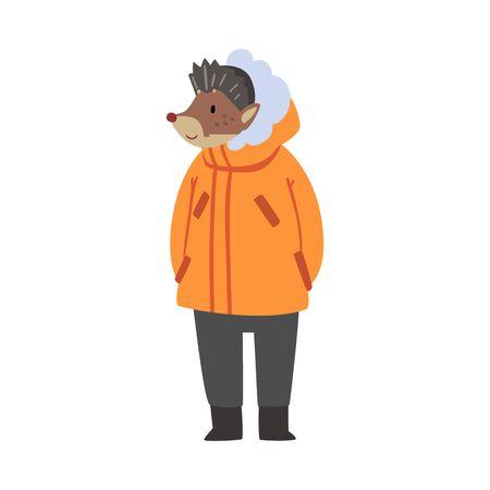 Hérisson portant une veste et un pantalon chauds, personnage animal de la forêt humanisé en vêtements d'hiver Illustration vectorielle de dessin animé