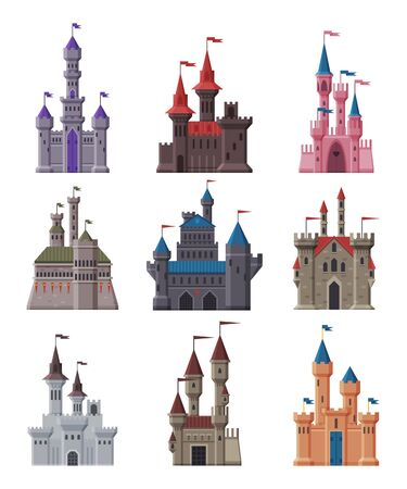 Medieval Stone Castles Collection, Ancient Fortified Fairytale Fortresses and Palaces with Towers Vector Illustration