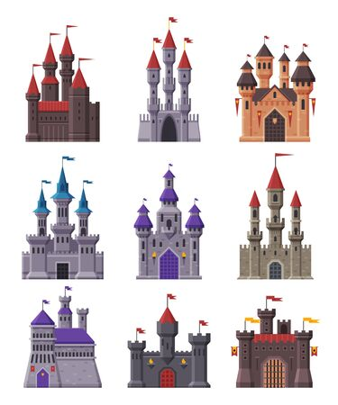 Medieval Fairytale Castles Collection, Ancient Fortified Fortresses and Palaces with Towers Vector Illustration
