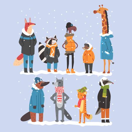 Animals Wearing Warm Clothes Collection, Platypus, Hedgehog, Fox, Scarf, Giraffe, Ram, Raccoon, Badger, Tiger, Humanized Animal Characters Vector illustration