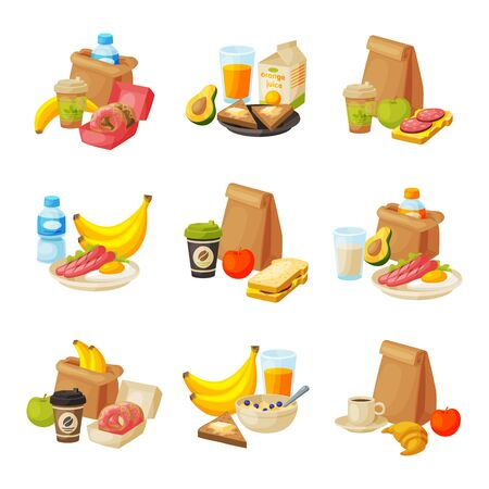 Paper Packaging with Healthy Breakfast Set, School Kids Lunch Bags Vector Illustration 向量圖像