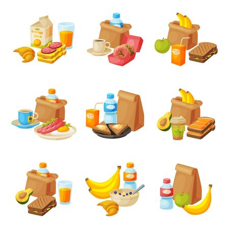 Paper Packaging with Healthy Breakfast Set, School Kids Lunch Bags with Drinks, Fruits, Sandwiches Vector Illustration
