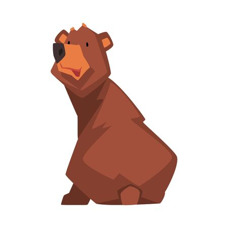 Cute Brown Bear, Wild Forest Animal Character, View from Behind Cartoon Vector illustration on White Background.