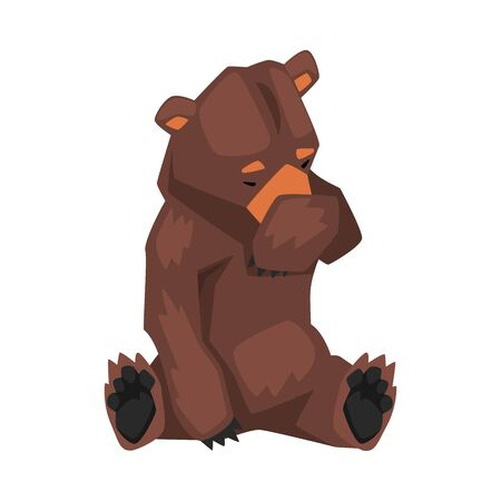 Cute Brown Grizzly Bear Sitting and Covering Muzzle with Its Paw, Wild Forest Animal Character Cartoon Vector illustration