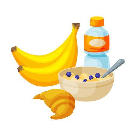 Healthy Breakfast, Bananas, Plastic Bottle of Water, Ceramic Bowl of Porridge, Croissant Vector Illustration