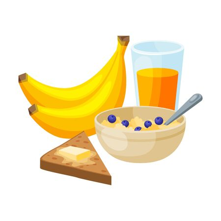 Healthy Breakfast, Bananas, Glass of Juice, Ceramic Bowl of Porridge, Bread with Butter Vector Illustration on White Background.