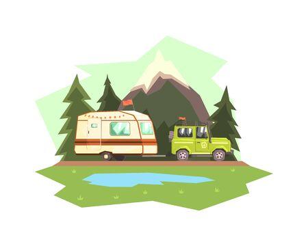 Remolque de caravana de remolque de coche contra la ilustración de vector de paisaje de montaña en estilo plano. Ilustración de vector