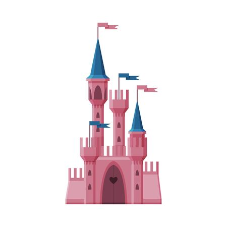 Pink Medieval Fairytale Castle, Fortress with Towers, Ancient Fortified Palace Exterior Vector Illustration