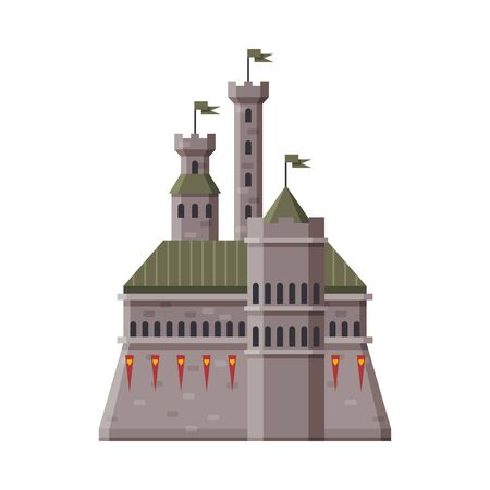 Medieval Stone Fortress with Flags, Ancient Fortified Palace Exterior Vector Illustration